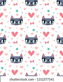 Abstract seamless cats pattern.  Kitten face and hearts. stars, bows. Romantic girlish fancy repeating wallpaper. Iterative animal ornament.  Repeated backdrop for textile, clothes, wrapping paper.