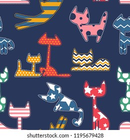 Abstract seamless cats pattern. Kitten silhouette shape with geometric ornanent inside.  Kitties repeated backdrop for kids, textile clothes, wrapping paper.