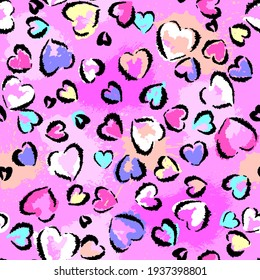 Abstract seamless chaotic leopard print with hearts elements. Grunge texture background. Wallpaper for girls. Fashion style pattern