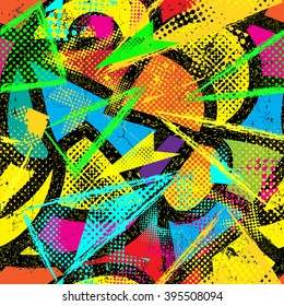 Abstract seamless  chaotic  pattern for textile. Wallpaper with neon lightning geometric elements for guys. Modern grunge background. pattern for boys and girls.graffiti
