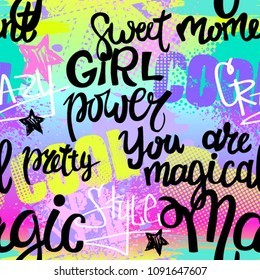 Abstract seamless chaotic pattern with urban geometric elements, graffiti, words, stars. Grunge neon texture background. Wallpaper for girls. Fashion style