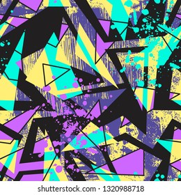Abstract seamless chaotic pattern with urban geometric elements, scuffed, drops, triangles, spots, sprays. Grunge neon texture background.