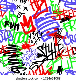 Abstract seamless chaotic pattern with urban graffiti words, scuffed and sprays. Grunge texture background. Wallpaper for boys. Fashion sport style