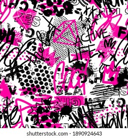 Abstract seamless chaotic pattern with urban graffiti words, scuffed and sprays. Grunge texture background. Wallpaper for girls. Fashion sport style