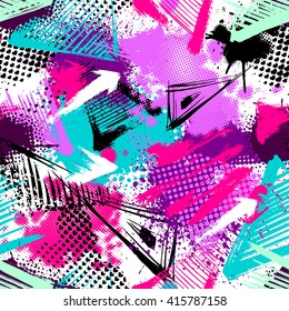 Abstract seamless chaotic pattern with urban geometric elements, scuffed, drops, triangles, spots, sprays. Grunge neon texture background. Wallpaper for boys and girls