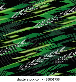 Abstract seamless chaotic pattern with urban geometric elements triangles. Grunge neon texture background. Wallpaper for boys and girls