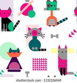 Abstract seamless childish cat pattern. Cartoon style repeated backdrop for girl, textile, clothes, wrapping paper. Geometric kitten caracter. geometrical animal shape. decorative kitty ornament