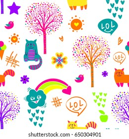Abstract Seamless Childish Pattern On White Background With Cartoon Cat Rainbow Clouds Hearts
