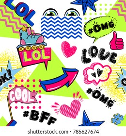 Abstract seamless childish pattern on white background with cartoon elements, comics speech cloud, letterx lol, wow, omg, bff, ok, love. Colorful repeated backdrop for textile, clothes, wrapping paper