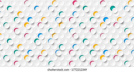 Abstract seamless colorful 3D on white paper round cut background. Modern circle texture. Vector illustration Eps10.