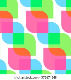 Abstract seamless colorful pattern with pink, green and blue shapes