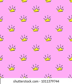 Abstract Seamless crown pattern on pink background . Royal repeated backdrop for textile, Clothes, wrapping paper.  Tiara Iterative wallpaper drawing in cartoon style. Girlish jewelry elements