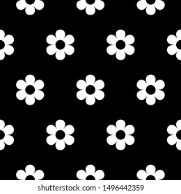 Abstract seamless daisy pattern for girls, boys, clothes. Creative vector daisy background with flower, marguerite. Funny pattern wallpaper for textile and fabric. Fashion daisy style.