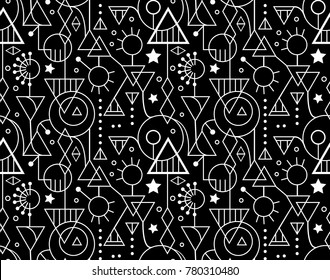 Abstract Seamless Decorative Geometric Black White Pattern
