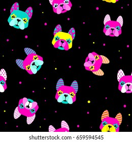 Abstract seamless dogs pattern on black background with colorful face. Cute childish repeated backdrop for child, wrapping paper. pet and dots wallpaper. Set of colorful french pitbul dogl faces