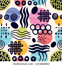 Abstract seamless doodle patterns on shabby background. Vector.