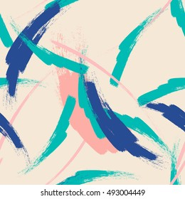 Abstract seamless elements hipster pattern with brush strokes