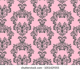Abstract seamless ethnic pattern. curls and swirling leaves. Classic European medieval repeated backdrop. Venetian tracery. damask iterative weave. monochrome oriental background. Baroque style.