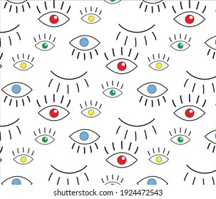 Abstract seamless eye pattern for girls, boys. Creative vector pattern with psychedelic eyes. Funny eyes pattern for textile and fabric. Fashion sport style. Background for kids, girls.