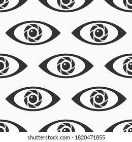 Abstract seamless eyes pattern. Stylized eye shapes. Vector monochrome illustration.