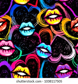 Abstract seamless fashion pattern. beauty style wallpaper. kiss lips and hearts drawing in pop art store style. Colorful girlish repeated backdrop for fancy textile, clothes, wrapping paper.