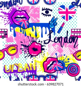 Abstract seamless fashion pattern for girls,  textile, clothes.  Grunge urban girlish repeated backdrop with spray paint ink, dots, lolipop, kiss lips,  tongue,  British flag, bus,  glasses,  lipstick