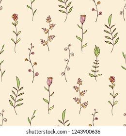 Abstract seamless floral pattern in doodle style. Regularly repeating vertical branches with leaves, flowers. Hand drawn floral decoration. Decorative elements for design. Vector color illustration.
