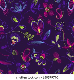 Abstract seamless floral pattern on dark purple background with colorful neon butterflies, flowers and leaves. Sketch hand drawing Bo ho style design. Girlish repeated backdrop. Beautiful ornament