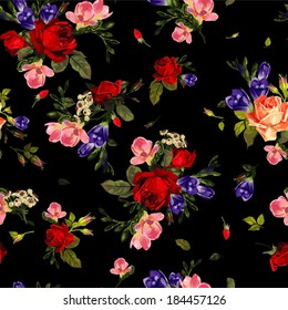 Abstract seamless floral pattern with of  red roses and pink and blue freesia on black background. Vector illustration.