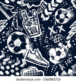 Abstract seamless football pattern. Sport background. Grunge style repeated backdrop for boy, sport textile, clothes,wrapping paper. monochrome background with hand sign, cool, lightning, dots