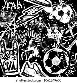 Abstract seamless football pattern. Sport background. Grunge repeated backdrop for boy, sport textile, clothes,wrapping paper. monochrome print with hand sign, text cool yeah win, lightning,  soccer