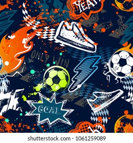 Abstract seamless football pattern. Sport background. Grunge repeated backdrop for boy, textile, clothes,wrapping paper. Colorful print with speech cloud, goal, lightning, fire, soccer ball, sneakers