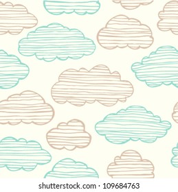 Abstract seamless gentle pattern with clouds. Colorful stylized hand drawn cloudy sky texture on light background