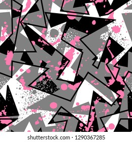 Abstract seamless geometric background with traingle cracked texture, dots, drops and splashes. Grunge pattern for boys, girls, sport, fashion. Urban colorful wallpaper. Silhouette repeated backdrop