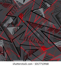 Abstract seamless geometric pattern with curved lines, spray paint ink elements. Grunge urban repeated backdrop for textile, clothes. Chaotic background in grey, black, red colors