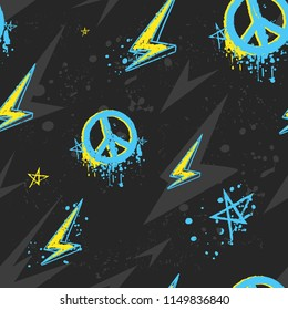 Abstract seamless geometric pattern. Grunge repeated backdrop for girl, boy, sport textile, clothes, wrapping paper. lightning shape, peace sign, stars, spray paint ink.