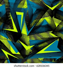 Abstract seamless geometric pattern. Grunge urban repeated backdrop for boys, textile, wrapping paper. Lines elements, triangles, arrows in bright blue, green, black colors.