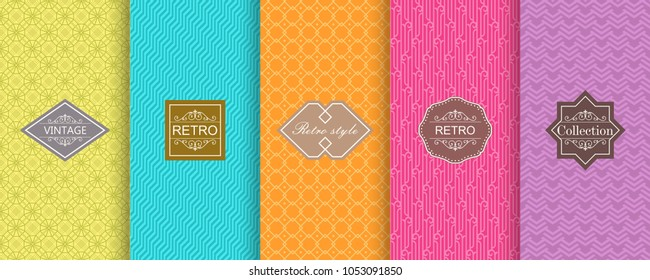 Abstract seamless geometric pattern on vibrant background. Set of Cute bright seamless patterns with frames. Vector illustration bright design