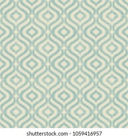 Abstract seamless geometric pattern on texture background. Art deco seamless pattern in turquoise and beige. Vector illustration vintage design. Islam, Arabic, turkish, ottoman motifs.