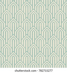Abstract seamless geometric pattern on texture background. Art deco seamless pattern in turquoise and beige. Vector illustration vintage design. Islam, Arabic, turkish, ottoman motifs