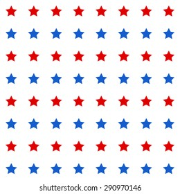Abstract Seamless geometric pattern with red and blue stars on a white background. Vector illustration