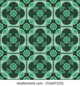 Abstract  seamless geometric pattern with semicircles and quadrants, squares, rhombus