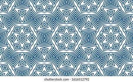 Abstract seamless geometric pattern. Some forms smoothly transform into other forms. Kaleidoscope of lines and angles. Tile pattern in the bathroom or kitchen. Stock vector illustration.