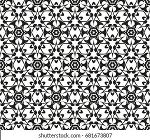 Abstract seamless geometric pattern. Vector illustration. Image repeating and alternating constituent elements. Decorative black and white ornament