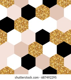 Abstract seamless geometric pattern. Vector illustration. Geometry gold, black and white hexagon grid texture. Chic mosaic tiles