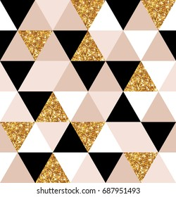 Abstract seamless geometric pattern. Vector illustration. Geometry gold, black and white triangles grid texture. Chic mosaic tiles