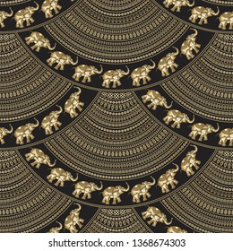Abstract seamless geometrical wavy pattern with Indian elephants.Golden fan shaped ornate feathers, banners with ethnic ornaments. Fish scale order. Batik painting.Oriental print