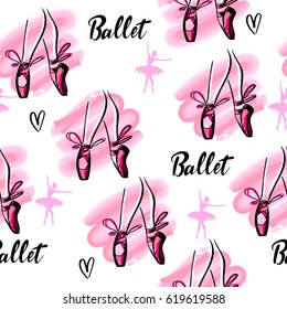 Abstract seamless girlish pattern. Dance Repeated backdrop.  hearts, watercolor spot, Legs with pointes and bow. Ballet background. Tender