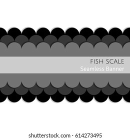 An abstract seamless gray-scale (black) paper cut out layered fish scale pattern vector banner decoration with shadows on a white background