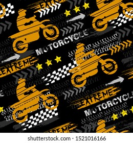 Abstract seamless grunge pattern for boy. Urban style modern background with motorcycles, trace of tire. Drive and speed modern creative wallpaper for guys. Extreme style